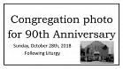 Congregation photo for 90th Anniversary - October 2018